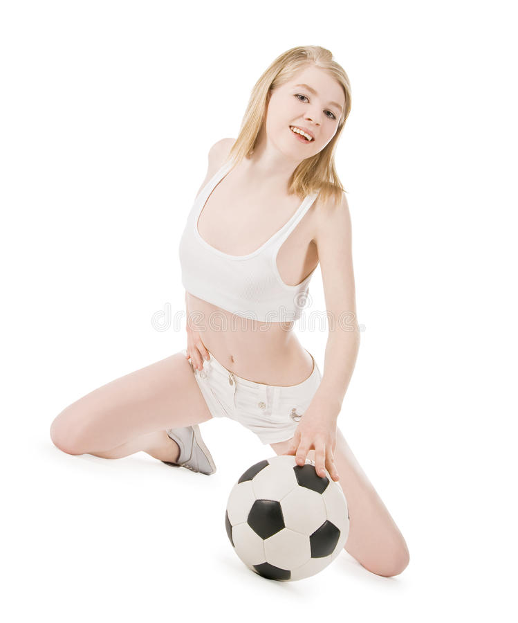 Picture of woman with soccer ball over white stock photography