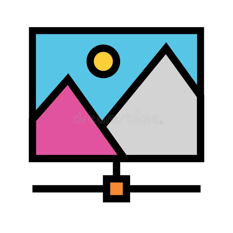 Picture sharing color line icon. Vector flat Icon. Elements for mobile concept and web apps. Thin line icons for website design and development, app development royalty free illustration
