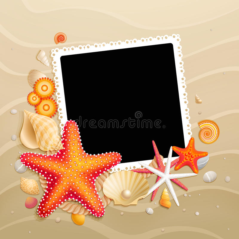 Picture, shells and starfishes on sand background. Vector illustration royalty free illustration