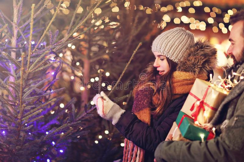 Adult couple shopping for Christmas tree in the city during Christmas time. Picture showing adult couple choosing Christmas tree in the city during Christmas stock photo