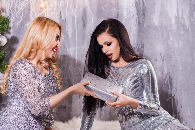 Picture showing best friends celebrating New Year. Holiday, celebration, winter concepts royalty free stock images