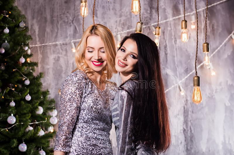 Picture showing best friends celebrating New Year. New Year, holiday, celebration, winter concepts royalty free stock image