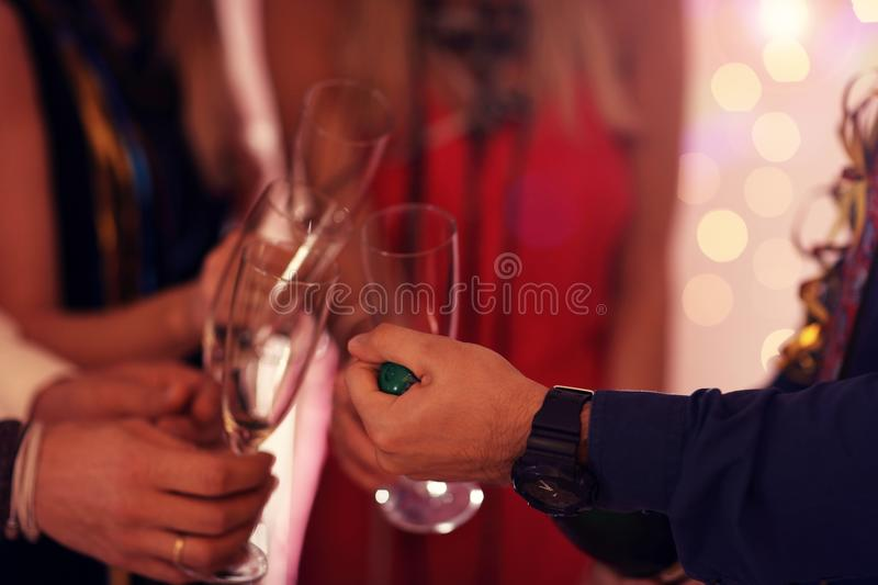 Picture showing group of friends having fun with at Party royalty free stock photos