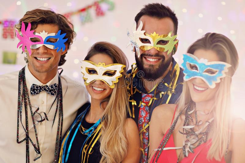 Picture showing group of friends having fun with at Party royalty free stock photo
