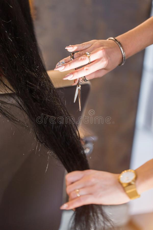 Picture showing hairdresser holding scissors stock images