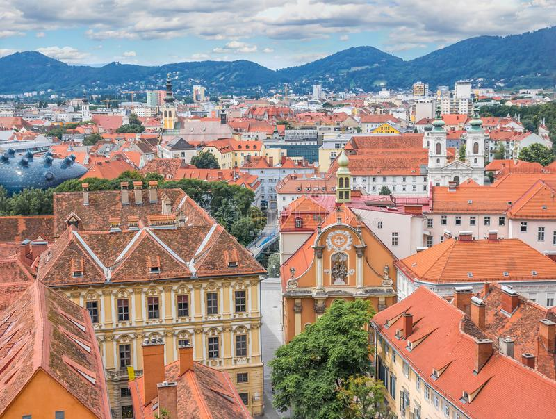 Rooftops over Graz, Styria, Austria royalty free stock photos