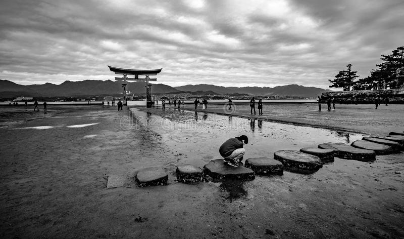 The main Torii of Itsukushima Shrine stock photography