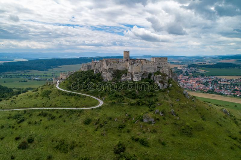 A stone castle on the hill. Spis Castle, Slovakia_4. The picture shows the castle on the hill. The castle is in Slovakia royalty free stock images