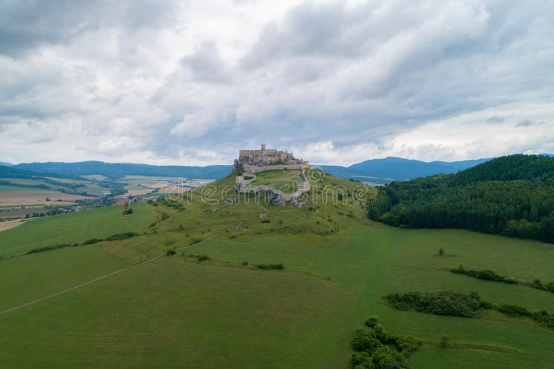 A stone castle on the hill. Spis Castle, Slovakia_5. The picture shows the castle on the hill. The castle is in Slovakia royalty free stock image