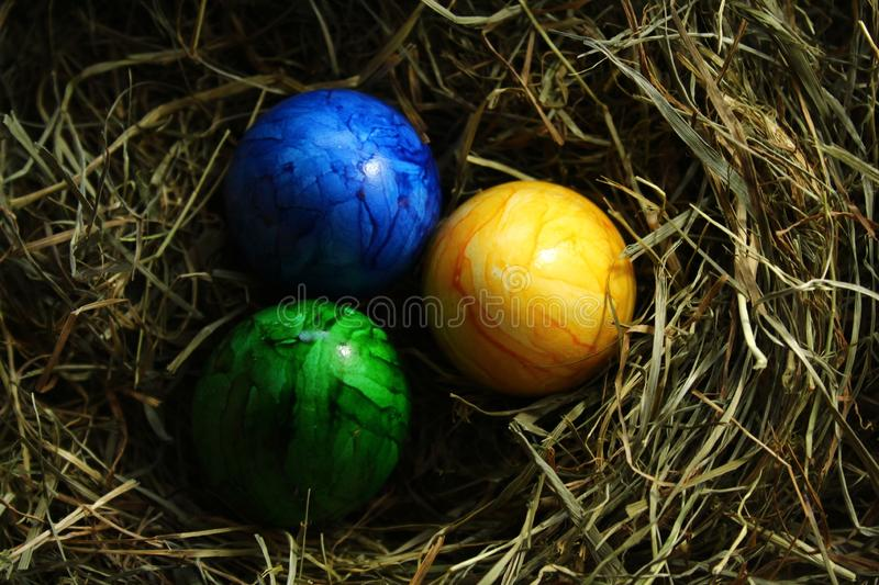 Eastereggs in hay. The picture shows eastereggs in hay royalty free stock image