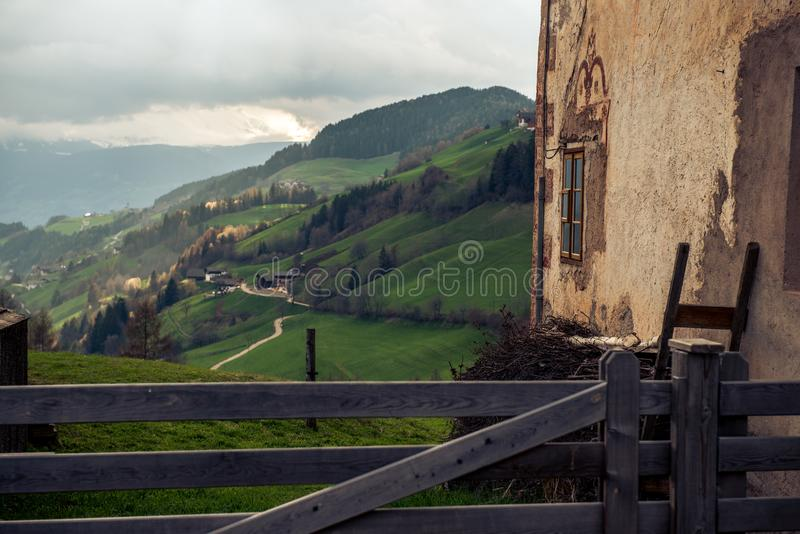 A green valley in Switzerland stock photography