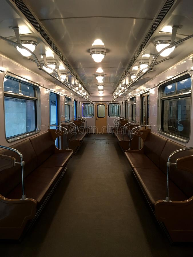 Old metro car. Transport of the USSR. In the picture shows Old metro car. Transport of the USSR a state that is not now. Wagon, train - museum stock photos