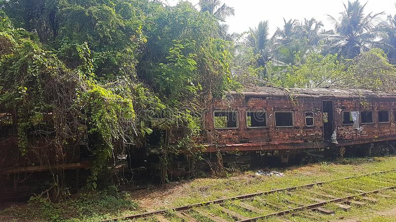 Rusted train on train station in Sri Lanka stock images
