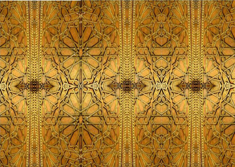 Oriental iron designs and ornaments. The painting depicts oriental patterns on the iron door. stock image