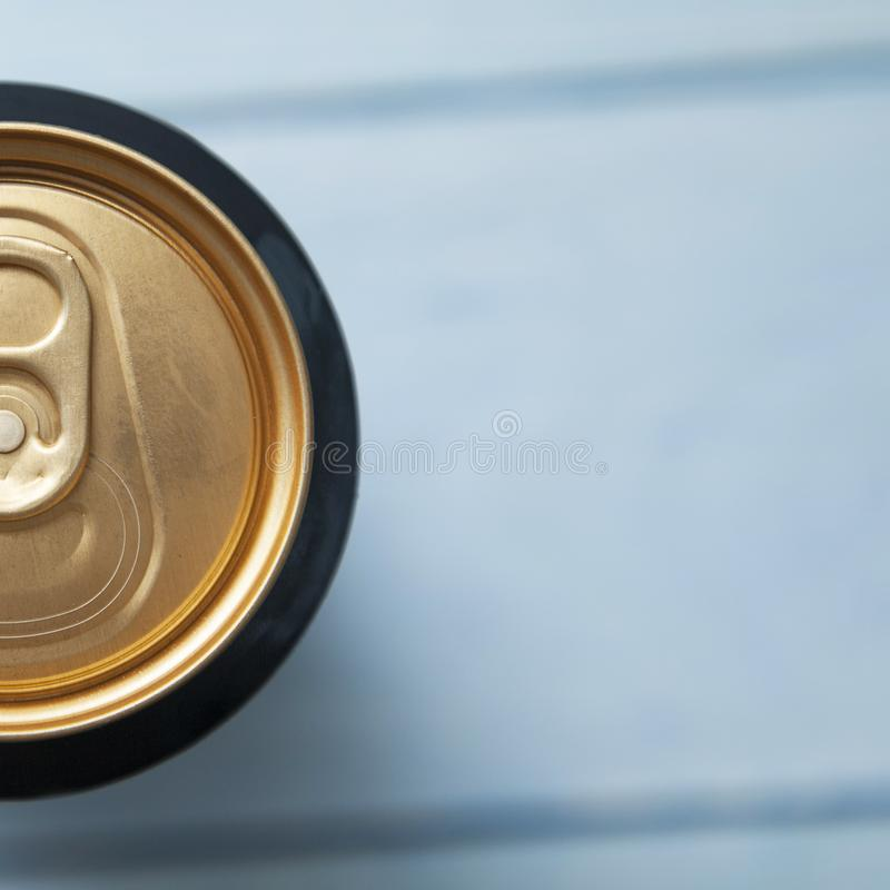 Top view of half aluminum can with a drink. The picture shows a top view of the aluminum can with a drink stock photo