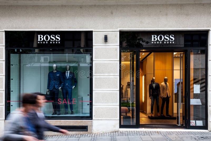 Logo of Hugo Boss on their main store for Belgrade. Hugo Boss is a German luxury fashion brand spread worldwide royalty free stock photos