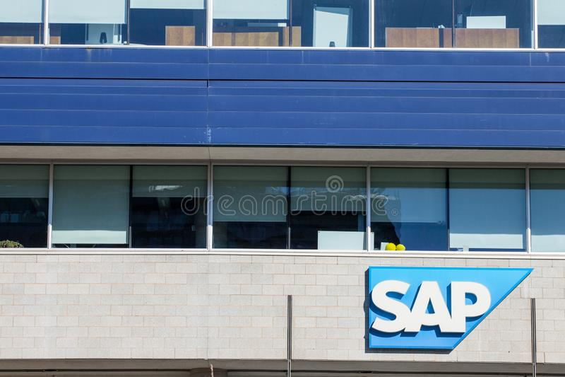 SAP logo in front of their main office for Montreal, Quebec. SAP is a German professionnal software development company stock photography