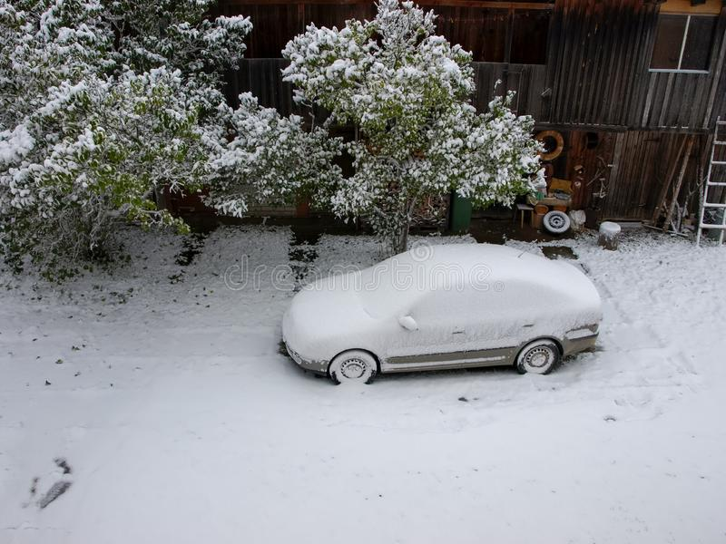picture with snow covered car. A snowy tree fell on the car. White snow covered the courtyard royalty free stock images