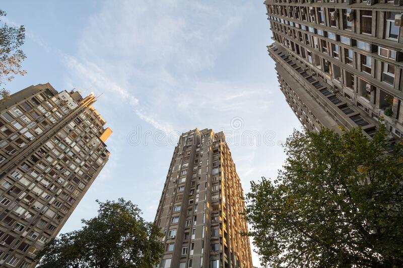 High rise buildings from the district of Blok districts in Novi Beograd, a traditional communist housing ensemble. Picture of socialist buildings of Novi royalty free stock images
