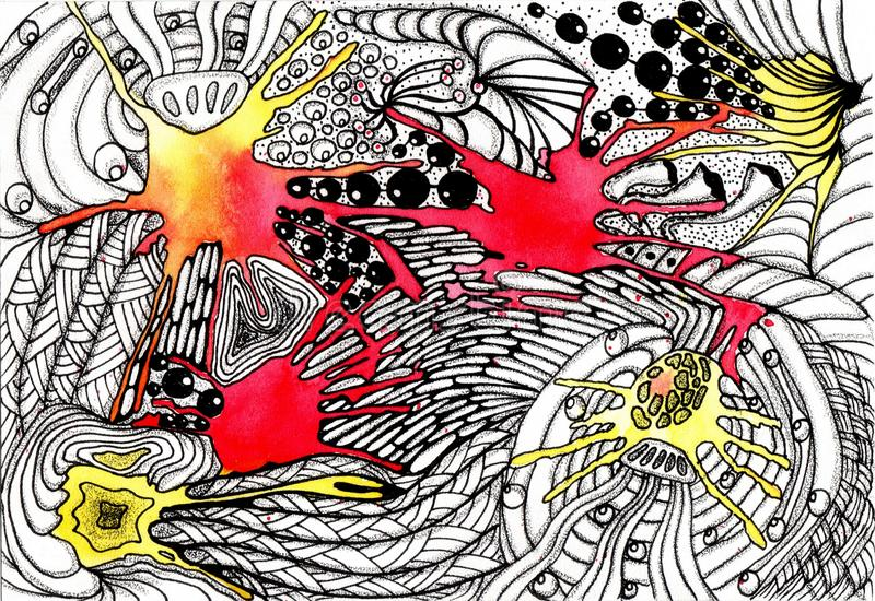 Picture Space abstraction. Hand drawing watercolor and ink royalty free illustration