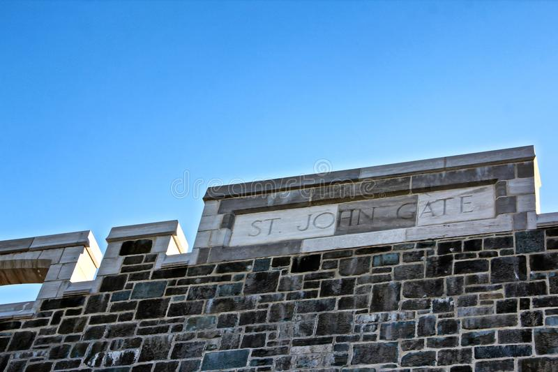 St Johns gate wall in Quebec city Canada royalty free stock photo