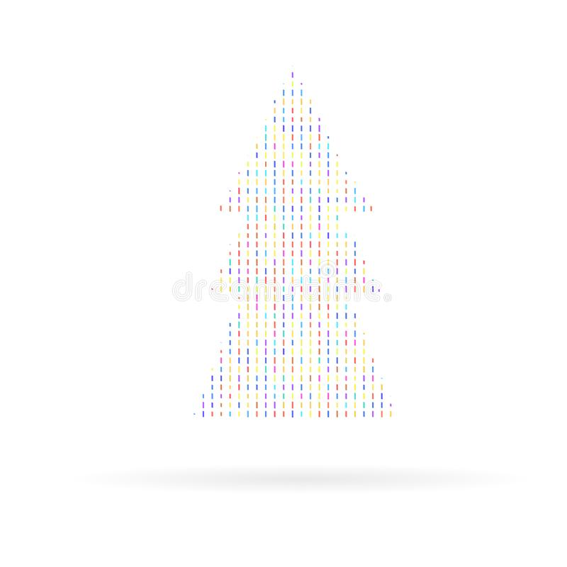 A picture of a stylized Christmas tree of colored geometric shapes on a white background. royalty free illustration