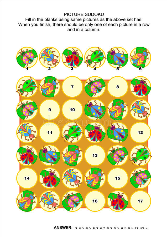 Picture sudoku puzzle with bugs and beetles royalty free illustration