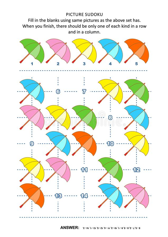 Picture sudoku puzzle with colorful umbrellas. Picture sudoku puzzle 5x5 one block with colorful umbrellas. Answer included royalty free illustration