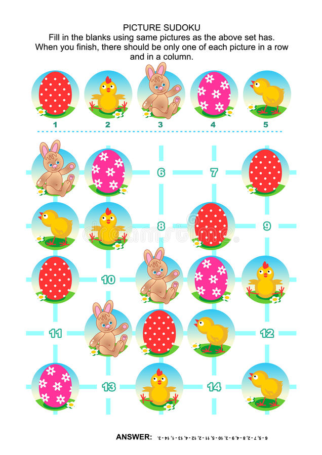 Picture sudoku puzzle, Easter themed stock illustration