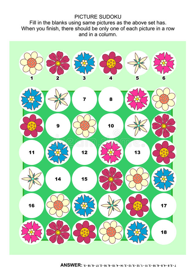 Free Picture Sudoku Puzzle With Flowers Stock Photos - 73631743