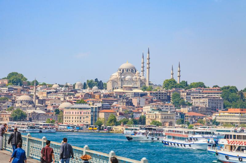 Picture of Sultanahmet Moschee in Instanbul taken from Galata bridge royalty free stock photography