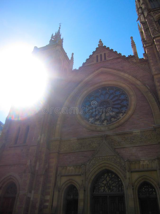 Sun beaming on the Notre Dame Basilica church in Montreal, Quebec, Canada. A picture of the sun beaming on the Notre Dame Basilica church in Montreal, Quebec stock photos