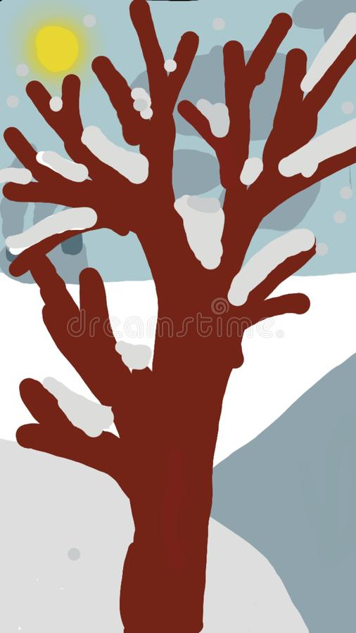 The picture Sunny winter morning. Sunny winter morning, there is a tree covered with snow royalty free illustration