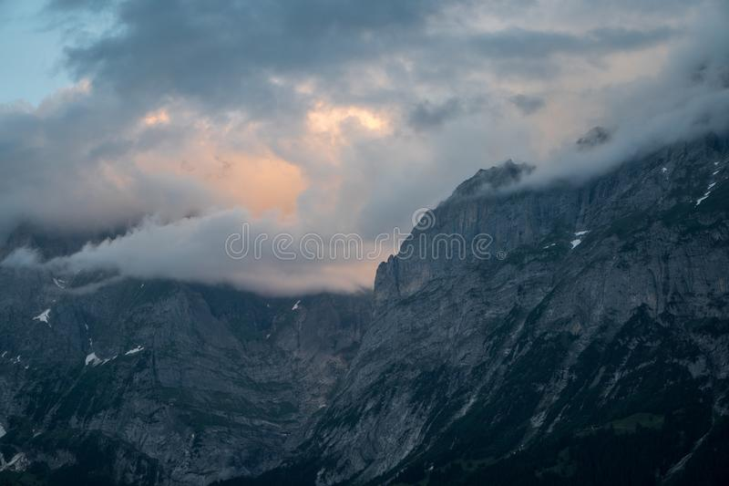 Sunset in mountains royalty free stock photos