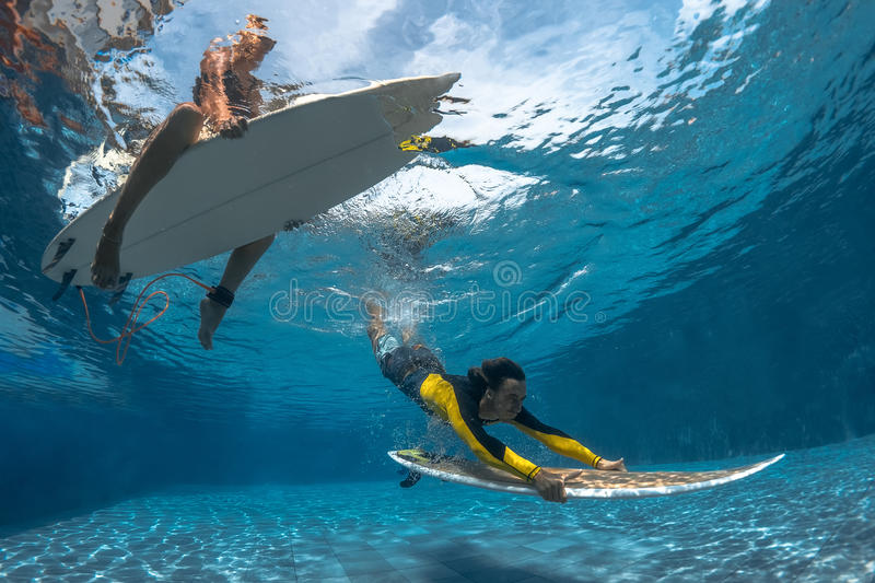 Picture of Surfing Under Water royalty free stock images
