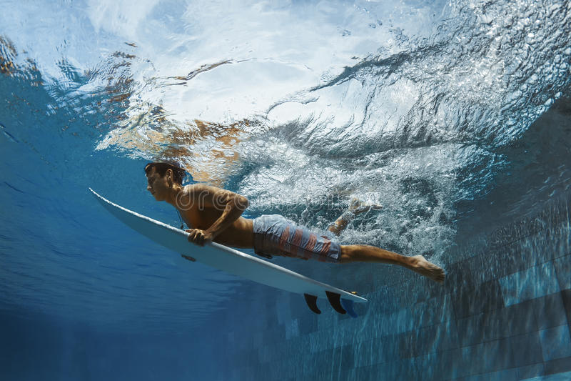 Picture of Surfing a Wave.Under Water Picture. stock photos