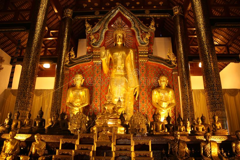Gods of Buddhism. Inside the temple. Golden Buddha. Thailand royalty free stock photo