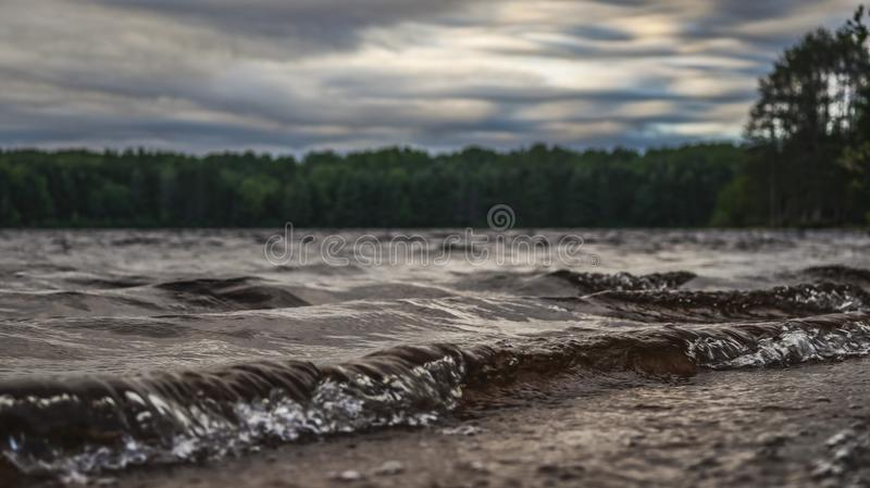 Picture of rolling waves at sunset 2. Picture taken with canon 80D of rolling waves at sunset 2 royalty free stock photos