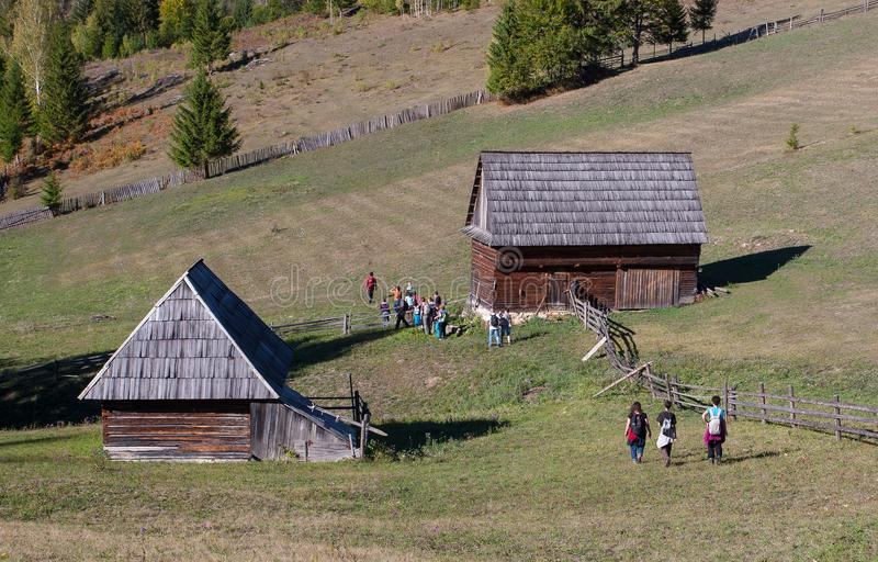 Hikers in the Eastern Carpathians stock photography