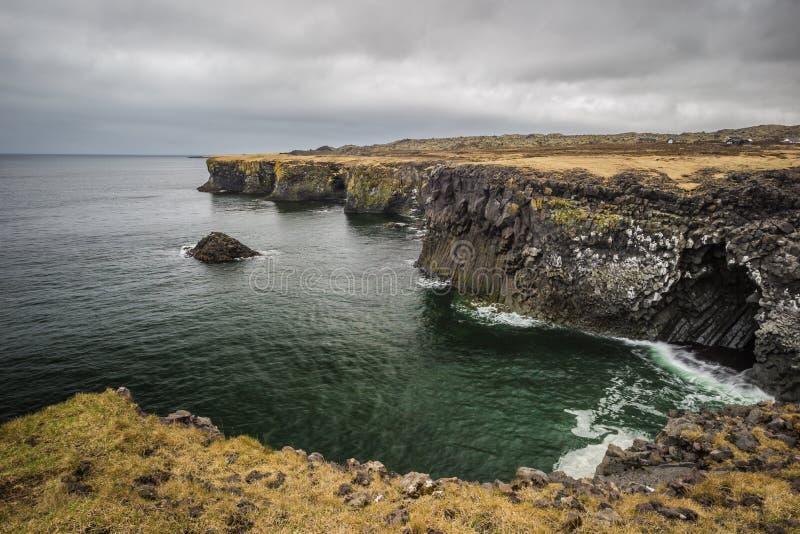 Arnarstapi coast and fishing village of West Iceland stock photo