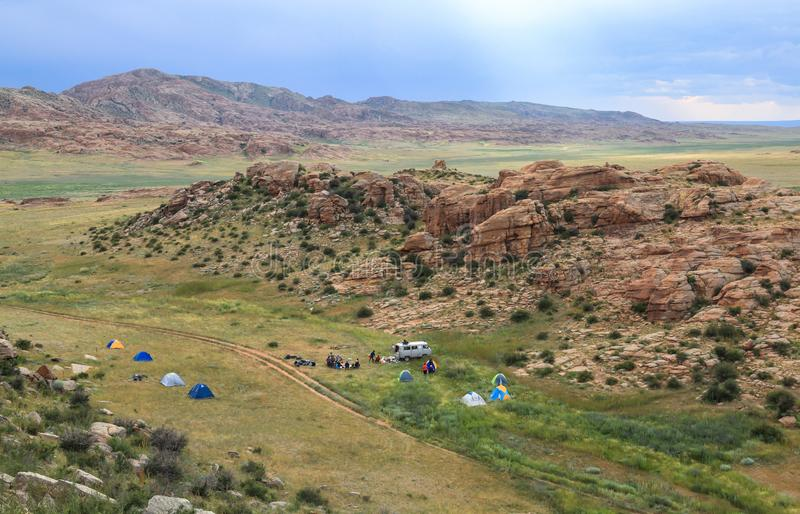 Range of stone mountains in southern of Mongolia. This picture is taken in Mongolia. This trip gives you a great opportunity to see all highlights of Mongolia royalty free stock images
