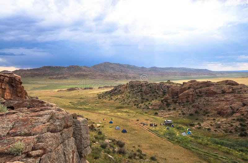 Range of stone mountains in southern of Mongolia. This picture is taken in Mongolia. This trip gives you a great opportunity to see all highlights of Mongolia stock photo