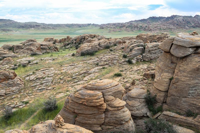 Range of stone mountains in southern of Mongolia. This picture is taken in Mongolia. This trip gives you a great opportunity to see all highlights of Mongolia royalty free stock photography