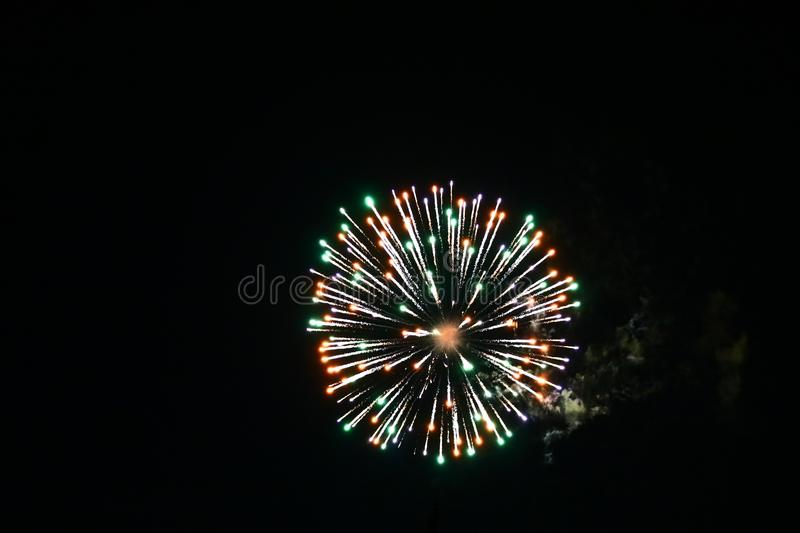 Canada day fireworks in the sky 5. Picture taken with my Canon 80D of Canada day fireworks in the sky 5 royalty free stock photos