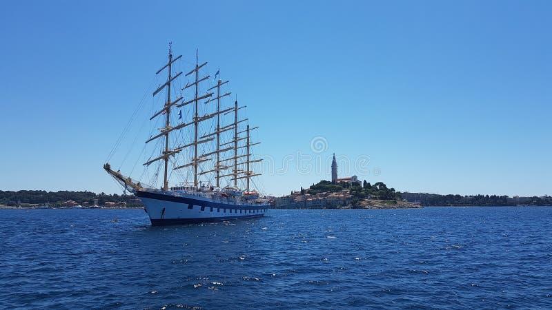 Boat at Rovinj at Croatia royalty free stock photos