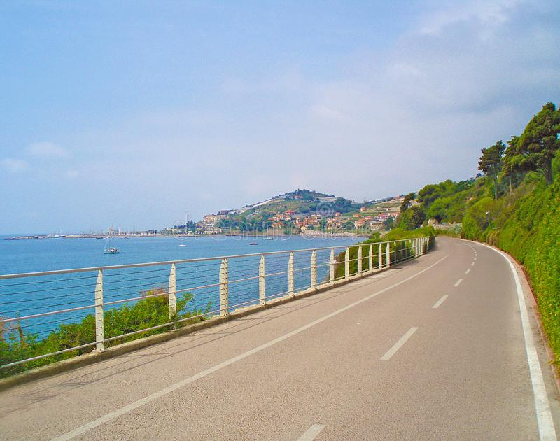 Road along the sea royalty free stock photos