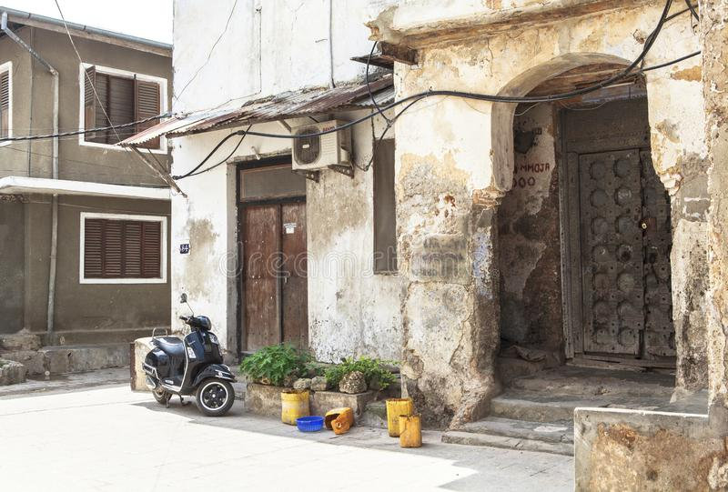 Life of Stone Town in Zanzibar Island, Tanzania. This picture is taken in Zanzibar island, Tanzania. Stone Town, also known as Mji Mkongwe Swahili for `old town stock photos