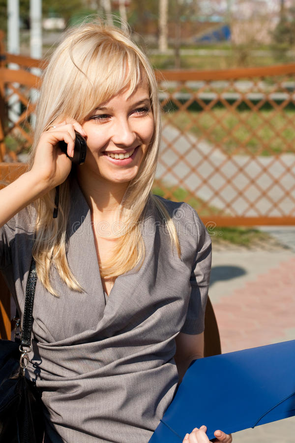 Picture Of Talking To Phone Girl Royalty Free Stock Photos