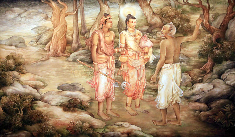 Picture in a temple. Picture in the Temple of Sacred Tooth Buddha on Sri Lanka on which it is represented: The Brahamin of the temple where Hemamala and party