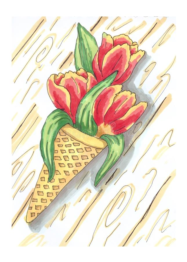 Picture of three tulips with ice cream. Red, yellow, gift, romantic, original, fun, nice, love, wood, tree, background, leaves vector illustration